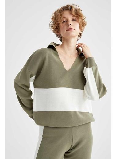 DeFacto Gömlek Yaka Renk Bloklu Triko Sweatshirt Haki